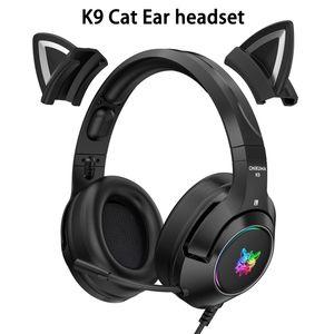 Onikuma k9 gato ouvido gaming fones de ouvido com microfone rgb luminosa telefone celular computador redução de ruído fone de ouvido fone de ouvido