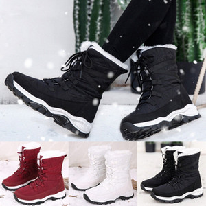 Womens Waterproof Platform Winter Boots Warm Plush Insole Snow Lace Up Ankle Boots Lace Up Thick Bottom Shoes Botas Mujer Cowboy Boots d9Ur#