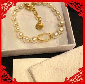 Luxury Bracelet Jewelry Womens Luxurys Designers Pearl Bracelets Lady Designer Bangles Fashion Letter Bracelet Party Gift For Women With Box