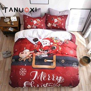 2 3pcs Merry Santa Christmas House Snowman For Gift Duvet Cover Pillowcase Queen King Size Bedding Sets No Bed Sheet