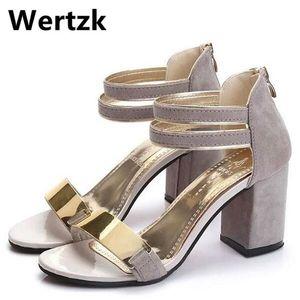 Wertzk 2019 Summer Summer Sangue-Wrap Scarpe Sandali Gladiatore Donne Sandali tacco quadrato Party Bling Ladies Sandali T017 C0309