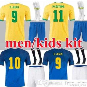 Brasil Neres Coutinho Soccer Jersey 2021 2022 Camiseta de Futbols Brazils G.Jesus Fridsino 20 21 Football Shirt Men + Kids Kit مجموعة موحدة