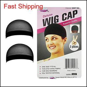 2pcs pack Hair Mesh Wig Cap Hair Nets Stretchable Unisex Elastic Dome Cap Free Size qylgBO topscissors