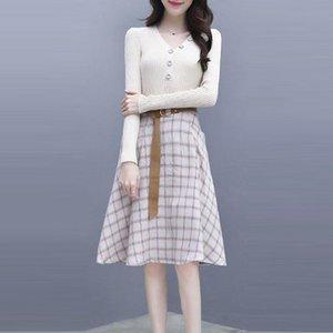 Skirts 2 Women Sets A-Line Suits V-Neck Elegant Female Slim Spring Korean Tops Skirt Plaid With Chic Piece Belt Knitted K