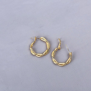22K 23K 24K Thai Baht FINE YELLOW SOLID GOLD GP EARRINGS Hoop E India Jewelry Brincos Top Quality Wave 51 U2