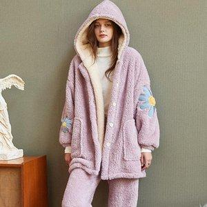 Shell Coral Down Pyjamas Femme Saison Augmentation Down épaississement Gardez une combinaison de vêtements d'hiver