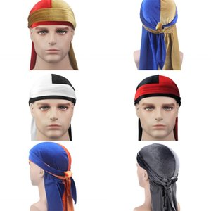 Unisex Men Женщины Дышащая Bandana Hat Velvet Durag DOO DU RAG DUNG Tail Head Headwoot Chemo Cap Сплошные Цветные Головные Устройства 255 Q2