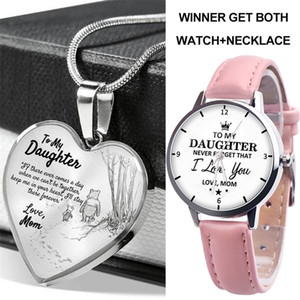 2021 trend children's watch kids teenage students PU belt quartz watch with necklace 2 piece set 2021 father's mother's day gifts G21902