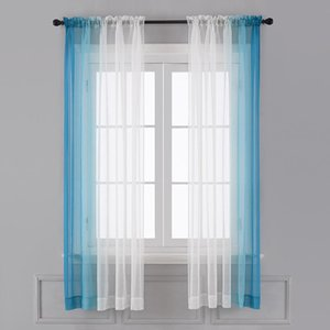 Curtain & Drapes Gradient In The Living Room Tulle For Bedroom Kitchen Light Roller Blinds On Window Soft Interior Home