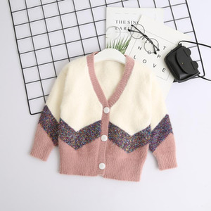 Winter Knitted Stripe Sweater For Girl Kids V Neck Fashion Cardigan Wholesale Bulk Lots Clothes Toddler Fashion Designer Sweater1