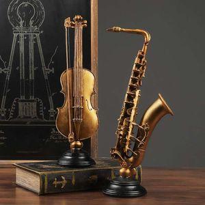 Luxe Nordic Vintage Viool Saxofofoon Модель Украшения Музыка Инструмент Статуя Домашний декор Воунов Скульптура Арт Craft Pois