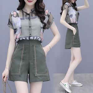 Chiffon Girl Set Shirt+pants Short Sleeve Printed Two Piece Set Fashion Casual Blouse Wide Leg Pants Summer Women Suits