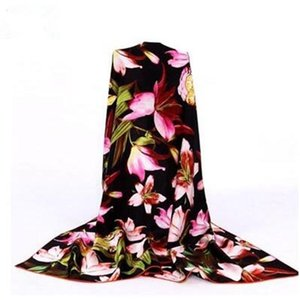 silk flower scarf soft pashmina for women high quality