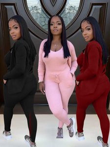 2021 womens three piece set New women designers clothes casual sport suit coat vest and trousers solid color tracksuit