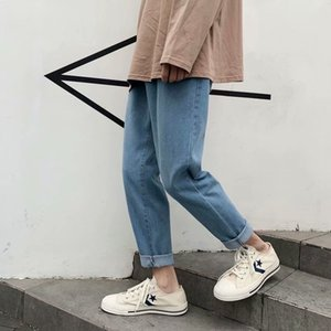 New Style Straight-Cut Jeans Men's Versatile Casual Korean-style Trend Washing Sports Students Loose-Fit Popular Q0128