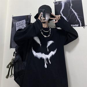 2021 New T-shirts Manga Longa De Alta Rua Solta Japo Engraado Femme Camisa Preta Diabo Do Hip Hop t Legal Oversized Harajuku Outono Primaver