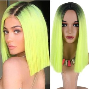 Synthetic Wigs VICWIG Long Straight Middle Part Line Wig Two Tone Color Black And Green Blonde Brown Orange False Hairpiece