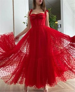 2021 Red Polka Dots Tulle A Line Prom Dresses Spaghetti Straps Tied Bow Shoulder Evening Gowns Tea Length Homecoming Party Dress Engagement