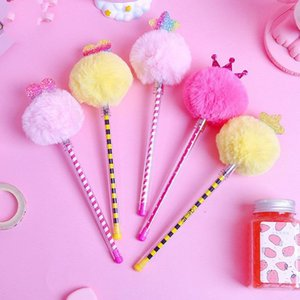 Gel Pens 30pcs Kawaii Pen Fashion Girl Cute Fluffy Ball Crown For School Office Supplies Korean Stationary Kids Gift