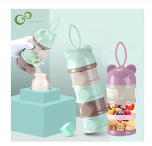 3   4 layers Bear Style Portable Baby Bottles Food Storage Box Essential Cereal Infant Milk Powder Box Toddle Snacks Container