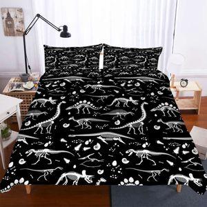 Jurassic Park Dinosaur Bedding Set Boy Bedroom Decor Duvet Cover Set Queen King Size Black Winter Bed Cover Pillowcase 2 3 Piece