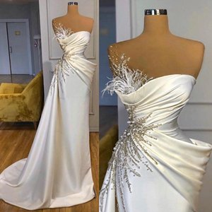 Ivory Mermaid Evening Dresses Beaded Feather Ruched Pleats Peplum Custom Made 2021 Prom Party Gown Celebrity Formal Occasion Wear vestido
