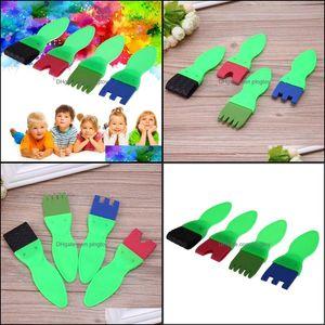 Supplies Coloring Learning Education & Gifts4Pcs Set Diy Tools Kids Painting Sponge Children Graffiti Plastic Handle Brush Ding Toys Drop De