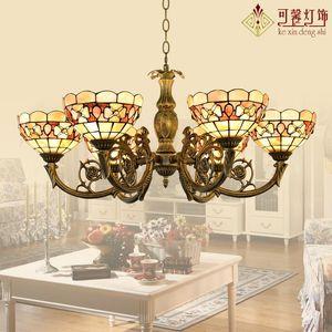 Pendant Lamps Mediterranean Tiffany Style Shell Light For Bedroom Dining Room E27 110-240v Luminaire Suspendu