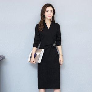 2019 Bahar Yeni Uzun Kollu OL Profesyonel Elbise Kore Siyah V Yaka Ince Orta Uzunlukta Bölünmüş Etek