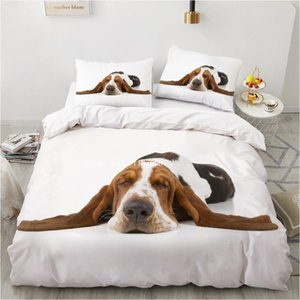 Bedding Sets Naughty And Cute Animal Dogs Printed Quilt Cover Duvet Single Double With Pillowcase For Kids Adult Home Bed Covers