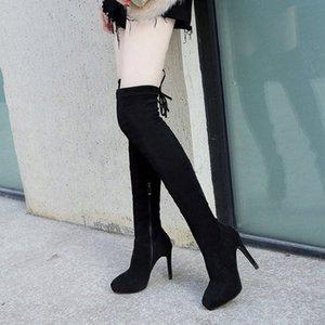 Europa e gli Stati Uniti Popolare Moda Trend Womens High Tube Over Knee Elastic Boots Femminile Sexy Sexy Ultra Tacchi Mostra stivali sottili Z3y0 #