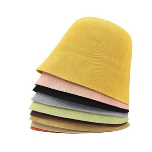 Wide Brim Hats Spring Summun Breathable Linen Knitted Bucket Cap For Women Simple Design Fashion Fisherman's Basin Hat Accessories