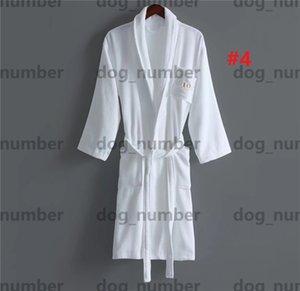 Trendy Letters Design Bath Robe Autumn Winter Warm Cotton Bathrobe Womens Mens Couple Morning Dress Fashion Dressing Gown