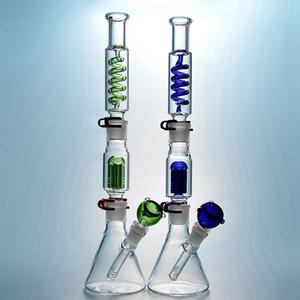 Einzigartige Becherglas Bongs 6 Arme Baum Perc Gefrierbare Öl DAB RIG Condenser Spule Buil A Bong DAB Rigs Glas Wasserleitung mit diffundiertem Deckungsstat