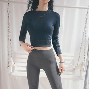 Vogue Yoga Shirts Women Sexy Hollow Out Sports Long Sleeve Crop Top Running Quick Dry Breathable Gym Sportswear