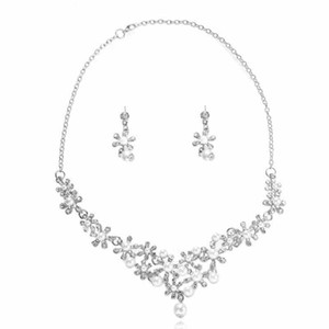 Fashion Crystal Flowers imitation pearls Necklace Earring 2021 new woman's Birthday Gift Wedding Jewelry Set