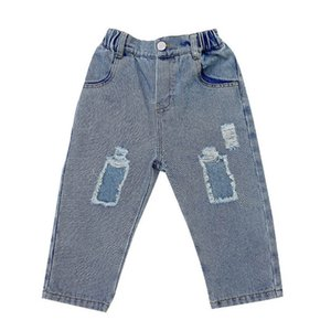 Hole Girls Jeans Denim Kids Jeans Spring Summer Boys Jeans Casual Soft Girls Trousers Kids Pants Girls Clothes Kids Clothing 2-7Y B4185