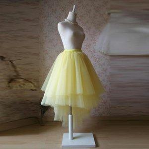 Skirts Asymmetrical Yellow Tulle Skirt Elastic Waistline Floor Length Full Maxi Tiered Long High Low Tutu