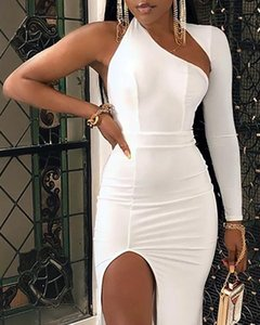 Vestido de manga larga blanca sexy sólido un hombro alto hombro alto ranura vestido maxi
