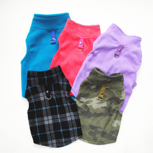 Pet Clothes Dog Clothes Autumn and Winter Polar Fleece Traction Buckle Solid Color and Plaid Pattern XD24531
