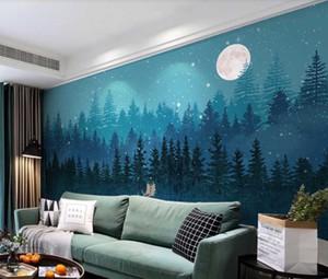 Personnalisé 3D photo papier peint mural nordique bleu peint à la main sd vent forêt elk salon salle de fond mur