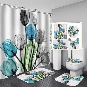 4 pçs / set acessórios do banheiro Corte de chuveiro Curtaina WC U-em forma de esteira do banheiro esteira, 9 tipos de estilo de planta DHE5187