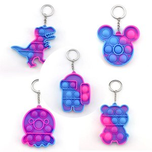 Push Poper it party Fidget finger toys keychain for kids adult decompression silicone camo rainbow rodent pioneer anti Stress Bubbles Board Pobll luminated Autism