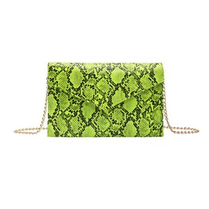 Snake Print PU Leather Envelop Bag Clutch Bag with Metal Chain Strap Snake-print cross-body with stylish envelope bag