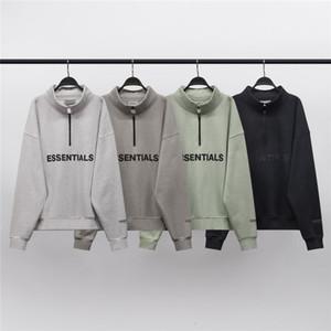 2021 Novo inverno reflexivo nevoeiro fundamentos meia zip stand colarinho camisola homens mulheres 1: 1 hoodie de alta qualidade pulôver crewwewer streetwear 4u