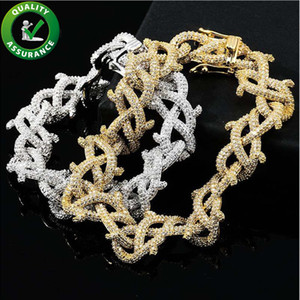 Luxury Designer Bracelet Iced Out Diamond Mens Bracelets Hip Hop Jewelry Charm Bracelet Rapper Gold Silver Love Bangle Fashion Accessories