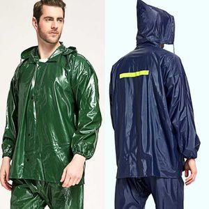 Взрослый дождевой костюм дождь для женщин водонепроницаемый дождевики вершины топы брюки мотоцикл дождевая одежда мужчин женщин велосипедные плащи 210225
