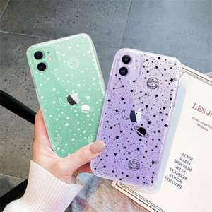 Cute Space Planet Clear Phone Case For iPhone 12 Mini 11 Pro Max XR XS X 8 7 6 6S Plus SE 2020 Soft TPU Shockproof Cover