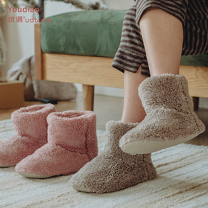 2021 New Winter Warm Interior Home High Tube Mute Plush Mens Women Cotton Slippers Indoor Furry Boots 429a