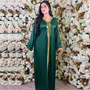 Siskakia Arabic Dresses for Women Fall Golden Ribbon Patchwork V Neck Long Sleeve Maxi Dress Muslim Turkish Clothing Satin 210224